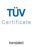 TUV Certifikat Glasstativer engelsk