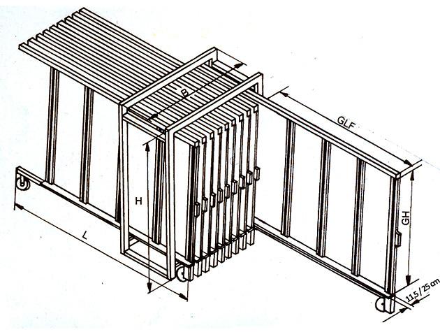 Dimensioner på glaslagersystem Maxitek fra Tekimex