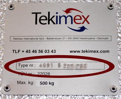 Typeskilt Tekimex glasttransport
